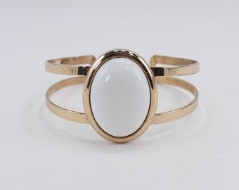 SALE 20 PERCENT OFF Vintage 1972 Signed Avon Accent In White Gold Tone Oval Lucite Cabochon Geometric Modern Minimalist Cuff Bracelet