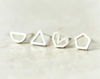 Geometric Line Earrings in 925 sterling silver/ pentagon, triangle, semicircle, heart