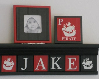Pirate Wood Name Shelf, Nautical Decor for Baby Boy Nursery Black Shelf with Red and Black Letter Plaques Personalized Name Signs