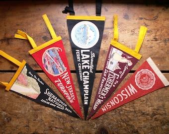 Vintage Felt Souvenir Travel Pennants