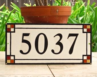 Custom Outdoor House Numbers Tile CRAFTSMAN Style Address Plaque Art Deco
