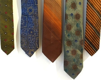 Vintage retro 1960's designer men's ties, silk ties, thin ties