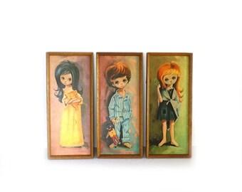 ON SALE Vintage 1960s kitsch Robert D Golding set big eyed moppet prints, big eyes, 1960s nursery prints
