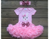 Easter Bunny Outfit, Shabby rosette bunny Outfit,  Easter pink and white bunny rosette top with pink chiffon pettiskirt