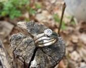 14k White Gold and Sterling Mokume Gane Solitare Engagement Ring