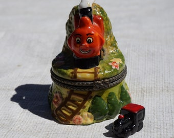 Hinged Porcelain Train Box - Red Locomotive - Bonus Train Figurine - Train Trinket Box - Boys Bedroom Décor - Hide Gift Inside - Boys Gift