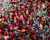 1lb Organic ROSE & LAVENDER Wedding Toss, Ecofriendly Wedding Flowers, Biodegradable Favors // Petal Bud Lavendar Mix Pnk Red 0.5kg 454g
