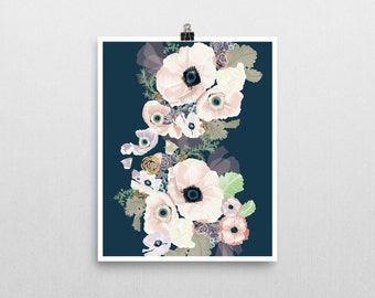 UNE FEMME navy and blush modern floral art print