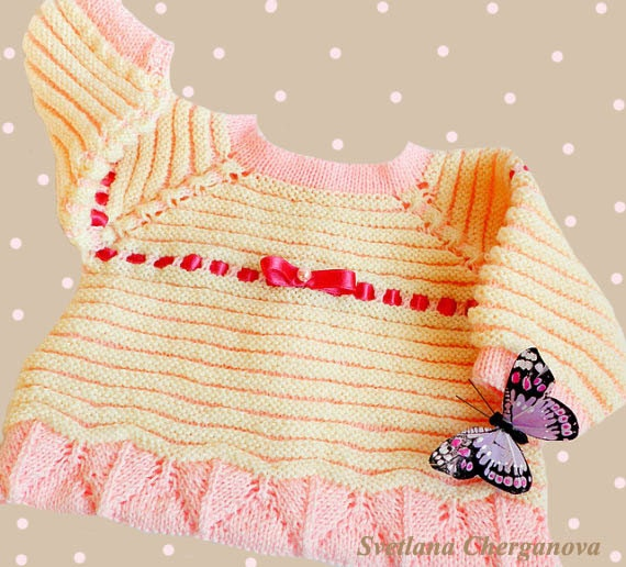 Hand knit baby sweater, knitted baby sweater, cream and pink baby sweater,handknitted baby clothing,Ready to Ship
