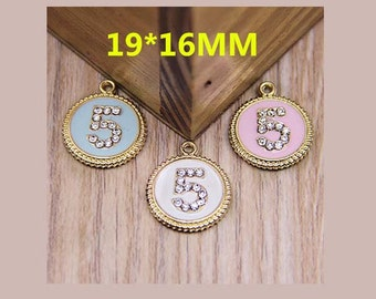 2pcs round lace alloy with rhinestones number 5 pendants charms 19x16mm mix colors