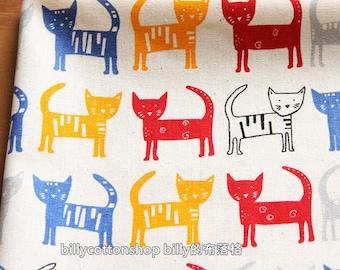 w775_55 - cats fabrics - cotton linen - Half Yard - 3 color