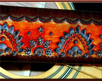 INDIA TEMPLE Design • A Beautifully Hand Dyed, Hand Crafted Leather Guitar Strap
