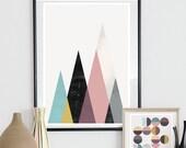 geometric poster, minimalist wall art, mountains art, mustard yellow, purple art, scandinavian design, abstract poster, nursery print