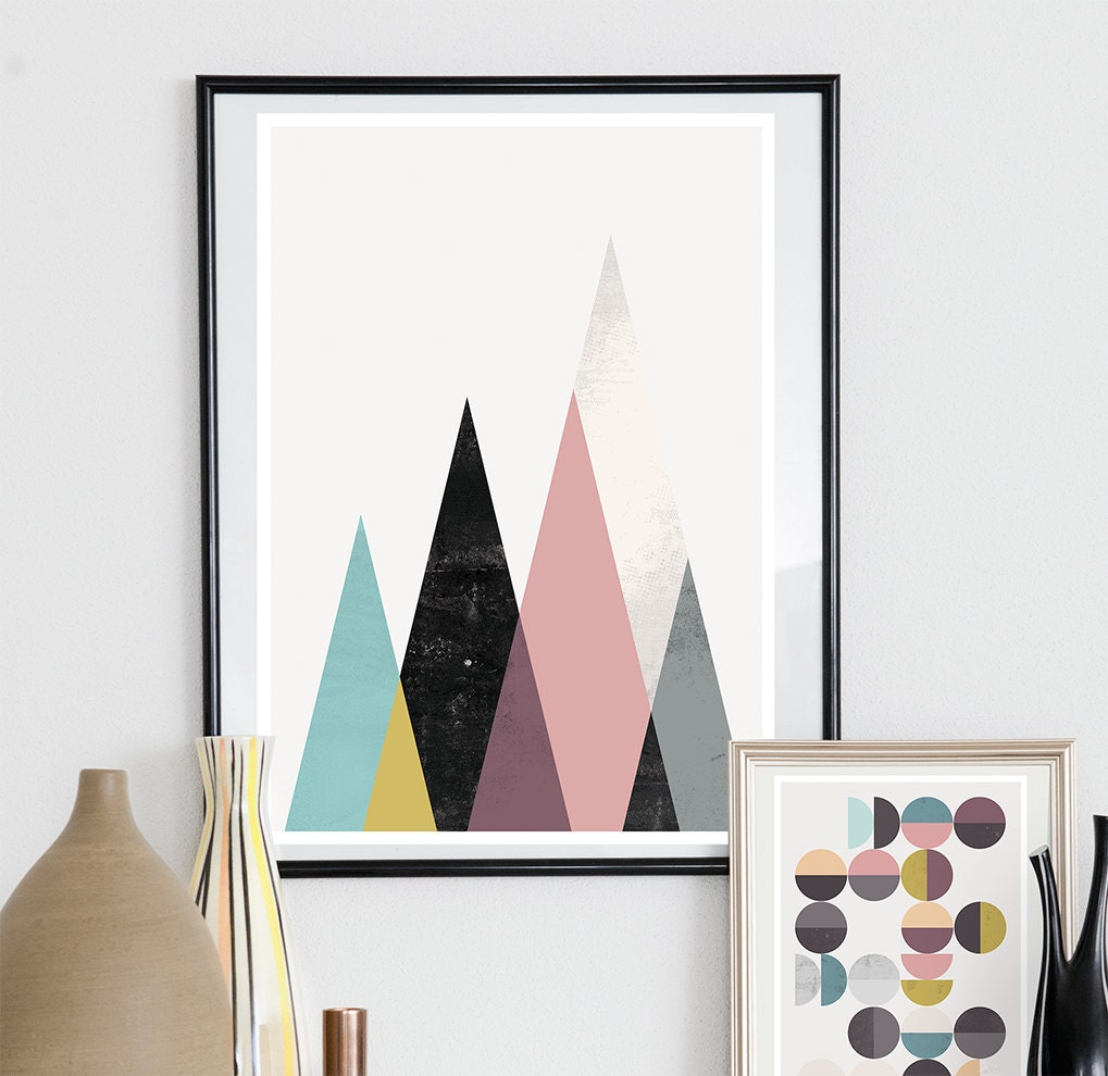 Geometric poster minimalist wall art mountains art mustard for Minimalist wall decor