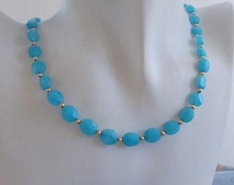 Blue Calcedony Choker Necklace with Gold