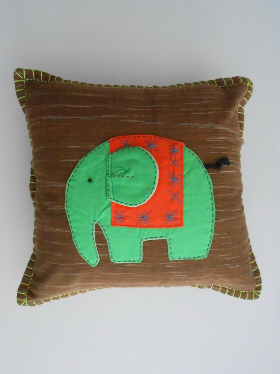 Decorative Quilted Pillow Covers : Elephant Quilted Decorative Pillow Cover Patchwork Cushion