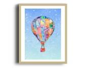 Hot Air Balloon Art Print, Digital Mixed Media Print, Colourful Watercolour Nursery Print
