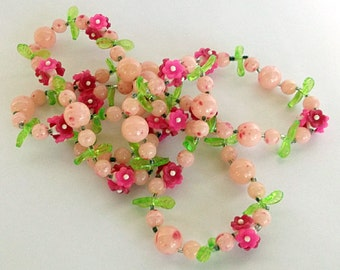 Vintage Necklace, Beaded Necklace, Statement Necklace, Retro Pink, Blush, Cerise Plastic Flowers