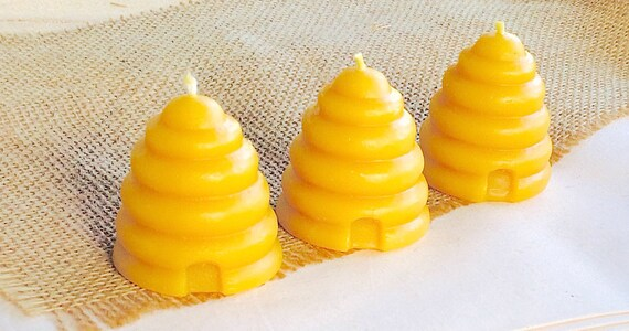 Beeswax Skep / Beehive Votive Candles, Set of 3