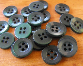 """50 Forest Green Flat Rim 4 Hole Round Buttons Size 7/16"""""""