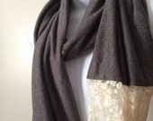 Soft Gray Jersey and Lace Infinity Scarf