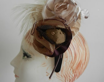 Chocolate Candy Delight Feather and Rose Hat on Headband Handmade
