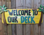 WELCOME to OUR DECK - Tropical Welcome Paradise Pool Patio Beach House Hot Tub Tiki Bar Hut Parrothead Handmade Wood Sign Plaque