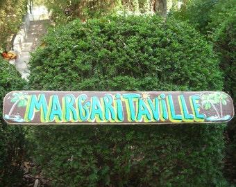 "MARGARITAVILLE  42"" BROWN - Tropical Pool Patio Beach House Hot Tub Tiki Bar Hut Parrothead Handmade Wood Sign Plaque"