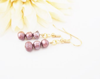 Freshwater Pearl Earrings, Purple Pearl Earrings, Ecofriendly, Purple Earrings, Pearl Trio Earring, Gold Purple Earrings, Clip On, Handmade