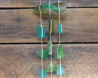 3 Strand MADE TO ORDER Sea Glass Windchime Mobile
