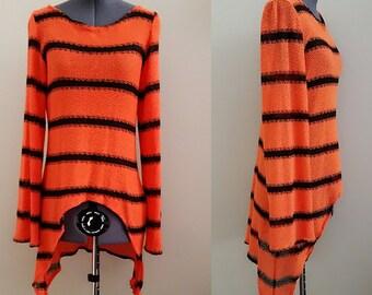 Fall Orange Black Stripe Knit Sweater Shirt