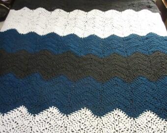 Beautiful Queen Size Blanket Ripple Style Hand Crochet