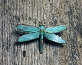 Spring Sale 10% Dragonfly Brooch in copper with blue green patina