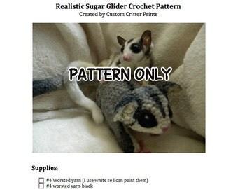 Realistic Sugar Glider Crochet PATTERN