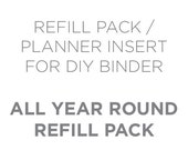 Planner Insert for 6x8 (A5) 2-Ring Binder Planner - All Year Round Journal Undated Weekly Planner Paper Sheets