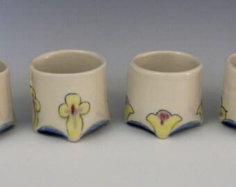 Folded porcelain teacups - hold 4 oz