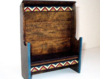 Folk Art Bench, Country Settle, Dollhouse Miniature 1/12 Scale, Hand Made