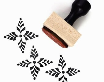 SALE Rubber Stamp Four Point Scandinavian Pattern #1 - Hand Drawn Geometric Pattern Stamp