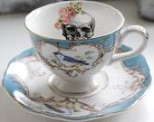 Blue Bird Skull Tea Cup and Saucer or Trio Set, Skull Teacup, 6oz, Trio Available, Steampunk Cup, Goth Mug, Custom Option Available