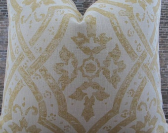 3BM Designer Pillow Cover Lumbar, 16 x 16, 18 x 18, 20 x 20, 22 x 22 - MG Jasmine Gold and Cream Linen