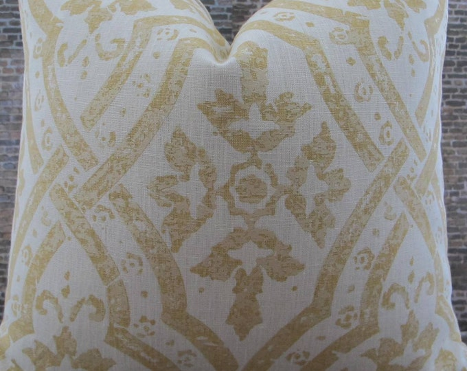 3BM Designer Pillow Cover Lumbar, 16 x 16, 18 x 18, 20 x 20, 22 x 22 - MG Jasmine Gold and Cream Linen