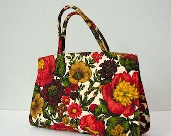 30% OFF SALE / 1960s vintage purse / floral linen purse / Margaret Smith