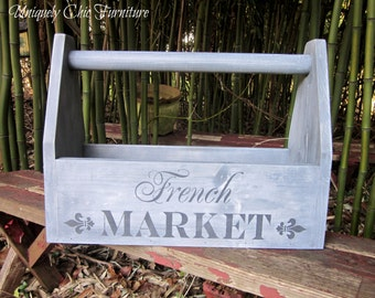 French Market Wood Caddy~Tote~Organizer~Decor