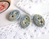 Handmade buttons ~ 3 porcelain buttons, ceramic button, oval blue green, artisan made fasteners, crafting sewing knitting crochet supplies