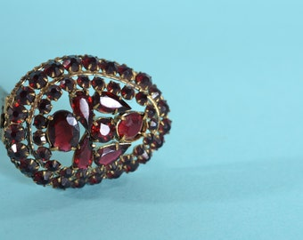 Vintage 1930s Czechoslovakia Dress Clip - Garnet Red - Bridal Fashions