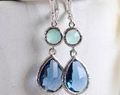 Sapphire Blue Teardrop and Aqua Dangle Earrings in Silver.  Fashion Dangle Earrings.  Drop Earrings. Wedding Jewelry. Silver Earrings.