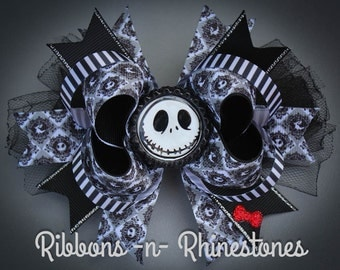 Nightmare Before Christmas Boutique Hair Bow, Jack Skellington Hair Bow, Jack Nightmare Before Christmas Accessory