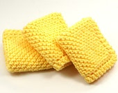 Sunny Lemon Yellow Knit Dishcloths Kitchen Cotton Wash Cloth Grandma's Favorite Set of Three Knitted Dish Cloths 7 inch square for Cleaning