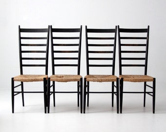 vintage ladder back chairs, rush seat black wood chairs, Gio Ponti style