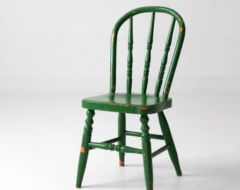 antique kid's chair, green painted spindle chair